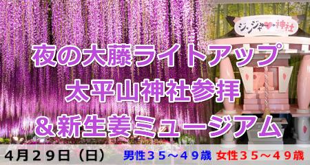 1800429 夜の大藤ライトアップ太平山神社参拝&新生姜ミュージアム